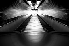 Paris Metro Tunnel in Monochrome (Sait Izmit) Tags: bw monochrome stairs nikon escalator tunnel d7000