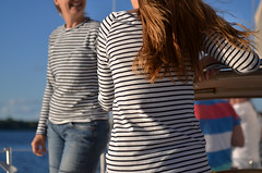 The Best Time to Wear a Striped Sweater (Kim Yokota) Tags: canada sailboat hair sailing candid stripes lakeontario nikond7000