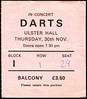 "19781130-Darts-Ulster Hall-Belfast-30 Nov 1978-ticket-DC Cardwell<br /><span style=""font-size:0.8em;"">Darts were perhaps underrated because they were a lot of fun and had too many hits in those punk, indie, inkie days. But the truly cool people knew that they were the real thing. A surprisingly authentic doowop sound. I recently managed to track down a recording of a show from this era and the guitar was just a tad too contemporary sounding, but apart from that, they still sounded really brilliant. All of their albums have finally been released on CD with bonus tracks at <a href=""http://www.drumfirerecords.com/shop.html"" rel=""nofollow"">www.drumfirerecords.com/shop.html</a> - I recommend you start with the self-titled one, which Marjorie and I listened to so much we actually *did* wear it out!</span> • <a style=""font-size:0.8em;"" href=""http://www.flickr.com/photos/87767114@N03/8157243401/"" target=""_blank"">View on Flickr</a>"