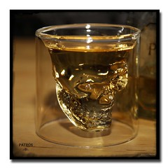 The Doomed Patrn. (Kingpin & Angel on Aruba) Tags: tequila shotglass doomed crystalskull patrntequilla crystalskullshotglass doomedcrystalskullshotglass