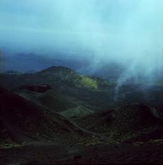 crateri (Russ Parker) Tags: road italy cloud mountain 120 tlr film rolleiflex mediumformat volcano lava russell altitude crater summit sicily etna parker sicilia cima planar twinlensreflex 28f fujipro160s russparker russellparker parkerrussell rpkphotogs