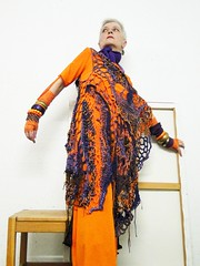 The Queen of Transylvania (MizzieMorawez) Tags: street urban orange inspiration knitting dress crochet lavender style lilac multicolored runway catwalk avantgarde freeform edgy tunic freespirit knitspiration lagenlook multiversatile