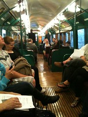 Inside the historical tube train