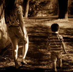 Easter walk (Lazy1255) Tags: brown children path walk sony behind alpha vignette tone a77