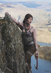 Lara Croft Cliff Hang (AJ Charlton Photography) Tags: uk cliff mountain mountains wales square aj photography march nikon rocks cosplay tomb north 85mm location lara croft snowdon d750 enix snowdonia epic ickle reborn adventurer ajc charlton raider 2016 rokcs