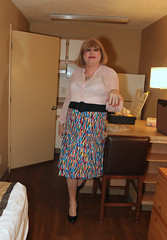 new124048-IMG_1026t (Misscherieamor) Tags: tv transformation feminine cd femme motel tgirl transgender mature sissy tranny transvestite crossdress ts gurl tg travestis travesti travestido travestie m2f xdresser tgurl traviesa travestito printskirt travestit sheerblouse transwoman