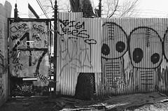 Area 47 (Georgie_grrl) Tags: blackandwhite toronto ontario fence aliens pentaxk1000 tagging 47 graffitialley bigbes ilford400asa rikenon12828mm area47 wherethezombiealienscanbefound