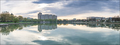 Russia. Moscow. Ostankinskiy pond. (Yuri Degtyarev) Tags: leica city morning panorama clouds reflections pond cloudy russia moscow 14 capital panasonic g3 summilux graduated density 25mm  neutral   cokin    p120     2514 ostankinskiy  pannyleica dmcg3  hx025e