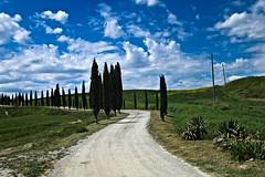 TUSCANY (gazzettinopadano) Tags: blue sky white verde green clouds strada nuvole blu hill campagna cielo tuscany crete siena bianca toscana contry cipressi senesi medane