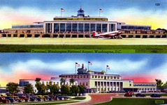 Terminal Washington National Airport Washington DC (Edge and corner wear) Tags: tarmac plane vintage design dc washington pc airport postcard colonial mount vernon prop revival