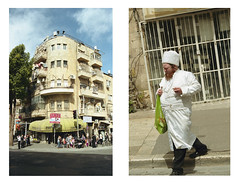 Purim day (Gabriela Gleizer) Tags: street urban holiday building film analog israel costume diptych kodak jerusalem purim 200 jewish orthodox mea shearim colorplus