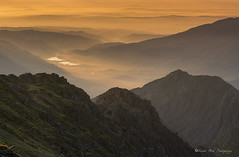 Morning Gold.  (explore) (Gareth Mon Jones) Tags: light mist fog sunrise layers snowdonia