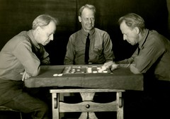 Man Playing Checkers with Himselves (Alan Mays) Tags: ephemera postcards realphotopostcards rppc photos photographs trickphotos trickphotography doubleexposures tripleexposures foundphotos checkers checkerboards boards checkered boardgames gamepieces games playing players men three trio threesome clothing clothes ties neckties poems poetry rhymes humor humorous funny amusing perplexing surprising antique old vintage photographicamusements