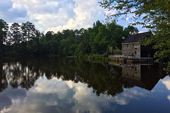 Historic Yates Mill County Park (~ naim) Tags: lake reflection tree green mill water nc raleigh historical iphone 2016