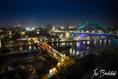 Tyne view from the Hilton Hotel Gateshead (Jez Bradshaw Photography) Tags: jez bradshaw photography canon 5d 1740 f4 l series lens tyne bridge hilton hotel gateshead view newcastle night long exposure cityscape city life wide angle