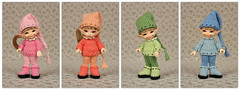 Outfits for RealPuki (Maram Banu) Tags: pink blue green hat sweater clothing doll boots handmade crochet peach knit clothes wig bjd soso fairyland outfits roro fairystyle realpuki marambanu