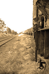 sepia train (Axemaniac-Art) Tags: sepia train australia victoria bendigo herowinner axemaniac2012 axemaniacmarch2012 2ndplacesbiconchallenge