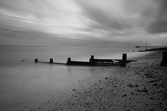 Deal groynes and pier (mussy5) Tags: longexposure sea sky blackandwhite beach skyline clouds coast pier kent deal infrared seafront groyne canonefs1022mmf3545usm canon550d smusgrove2012