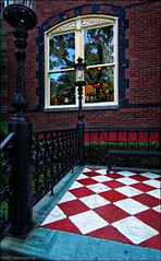 Calhoun Mansion window facade. Contrasted red-white diamond ceramic entrance floor. (hoan luong) Tags: family camping sunset vacation sun lighthouse white flower beach sc sunrise river garden island bicycling boat high sand ancient picnic ride natural state dolphin dunes south tide low group hunting lakes scenic parks pelican historic atlantic deer erosion charleston biking catamaran dollar area beaches carolina magnolia destination campground sporting shores inland beaufort villas cultural campsite sthelena palmetto cabins tilley recreational velocia mygearandme mygearandmepremium