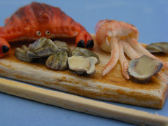Oysters, Crab and Squid (Shay Aaron) Tags: food fish dinner miniature handmade salmon crab prawns mini clam gourmet polymerclay fimo tiny deli seafood oysters appetizer mussel scallop crustacean 12th 112 luxury lux platter preparation dollhouse petit oneinchscale shayaaron scaleoneinch