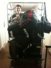 Brian the Bear lends a hand with luggage