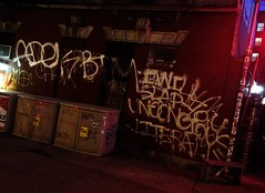 I WILL SLAP YOU UNCONSCIOUS LITERALLY (S C R A T C H I E S) Tags: nyc night graffiti atari chew adek rusk btm zno take7 kwote