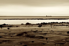 Ship on Saint Lawrence River (adeschenes) Tags: water sepia rocks ship glow mud cloudy dusk horizon lowtide tanker saintlawrenceriver lx5