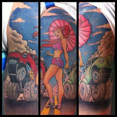 Finished the drag race tattoo! Had a good time doing this one! #tattoo #pinup #vw #volkswagon #gasser #belair #dragrace #redhead