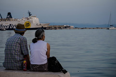 Looking out to Sea (JB_1984) Tags: sea portrait woman man ferry couple harbour croatia split adriatic adriaticsea hrvatska dalmatia dalmacija