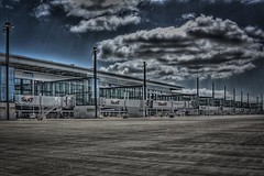 Dark Clouds Over New Berlin Airport (Lens Daemmi) Tags: new berlin clouds germany dark airport empty leer wolken apron brandt flughafen brandenburg hdr willy neu dunkle vorfeld