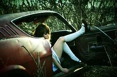 she loves that car.... @ mercury house (Aces & Eights Photography) Tags: abandoned anne decay oldhouse abandonedhouse cari oldcar abandonment ruraldecay abandonedcar mercurycyclone