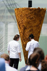 Heston Blumenthal's record breaking ice-cream (Cjlws) Tags: park food ice television giant tv nikon cone cream sigma massive heston record 28 attempt waffle channel4 70200mm fantastical blumenthal d700 cjlws