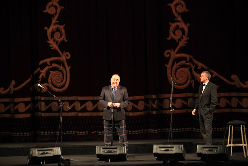 First Minister Alex Salmond and Ken Hay onstage for the introduction of Brave at the Festival Theatre