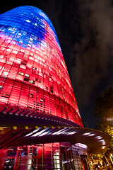 Torre Agbar II (Philippe Lejeanvre - 乐让菲力) Tags: barcelona blue red building tower architecture night rouge lights spain nikon tour bleu espana catalunya espagne torreagbar barcelone 2012 bleue catalogne plaçadelesgloriescatalanes ©philippelejeanvre