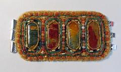 Mesa Verde Bracelet (floyfreestyle) Tags: jade mesaverde bracelet carnelian beadembroidery cherrycreekjasper