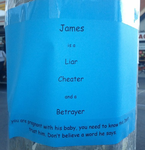 James is a Liar Cheater and a Betrayer. you are pregnant with his baby, you need to know this. Don't trust him. Don't believe a word he says.