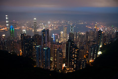 (wenzday01) Tags: city travel sunset urban hk skyline hongkong lights nikon skyscrapers dusk nikkor  victoriapeak d90 nikond90 18105mmf3556gedafsvrdx