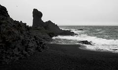 Djpalnssandur 2 (vicky.inglis) Tags: sea bw beach blacksand coast iceland rocks geology sland snfellsnes snaefellsnes djpalnssandur