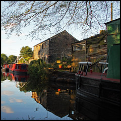 ......and the living is easy (foto.phrend) Tags: summer england reflection water square boats evening canal yorkshire leeds 500d