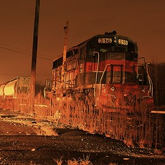 Happy Friday the 13th! (sixty8panther) Tags: street longexposure railroad bridge light red orange broken crimson night yard speed train scarlet dark happy photography photo long exposure tripod tracks engine machine rail railway rr 15 systems nighttime shutter incoming huge second ambient locomotive motor mass friday 13 powerful fridaythe13th thirteen lowell gorham guilford brokendown immobilized 316 bostonmaine dieselelectric happyfridaythe13th spaghettiville number316 brokenflywheel