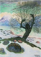 Astrup, Nikolai (1880-1928) - 1920c.  March Morning (RasMarley) Tags: 1920s tree landscape surrealism norwegian painter 20thcentury 1920 astrup nikolaiastrup marchmorning