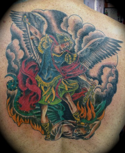 3d0fb21f6 Saint Michael Slaying the Devil Tattoo by KeelHauled Mike of Black Anchor  Tattoo in Denton Maryland