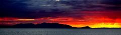ARRAN SUNSET (simongavin83) Tags: sunset sea seascape mountains silhouette clouds seaside warm horizon sunny hills redsky arran isleofarran goatfell redskyatnight ayrharbour nikond5100