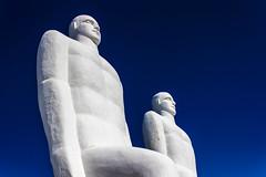 Walking Sculptures (iceedk) Tags: bluesky statues 600d canon denmark danmark nature landmark esbjerg sdding beach blue sky