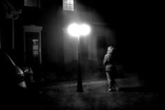 Homage (Stephanie R Jeter) Tags: light blackandwhite fog scary darkness inspired nighttime theexorcist