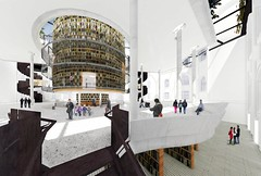 Cut away view of proposed new atrium and library as tower of books with storage below