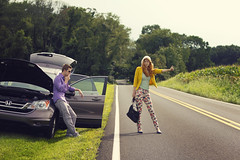 Car Trouble (RachelMarieSmith) Tags: car fashion canon photography pants modeling davidcrowley thumbingit jonkobryn