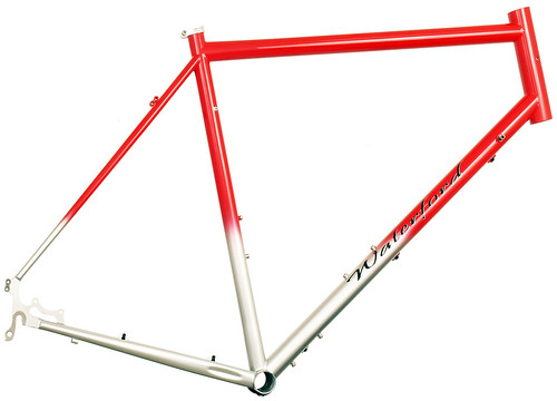 <p>14 Series Vision - Disc touring design with Intense Red to Silver Fade - 63845.  Note the chainstay disc mounts and carefully considered cable routing.</p>