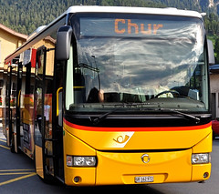 Postauto Schweiz (Darkroom Daze) Tags: bus schweiz switzerland suisse svizzera postauto klaxon postbus tiefencastel cantongraubünden postautoschweiz