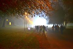 Walking into the light... (frankcerra) Tags: park nightphotography autumn light night walking photography fireworks path bonfire scifi mysterious heaton heatonpark
